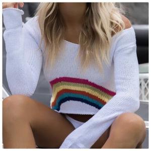 Sweaters - 3 PACK Rainbow crop bikini cover up Beach SWEATER